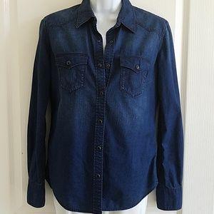 True religion blue denim snap western Shirt sz xs